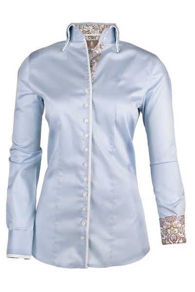 Fior da Liso blouse Sara II SS20 Light Blue and Hot Pink