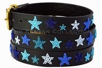 """Indigo Stars"" Beaded Dog Collar"