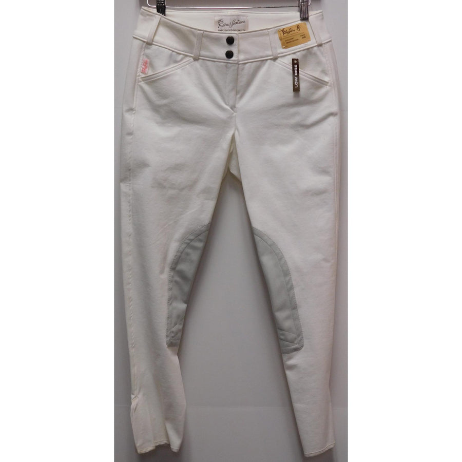 TS 1963 White Knee Patch Mid-Rise Front Zip Breeches