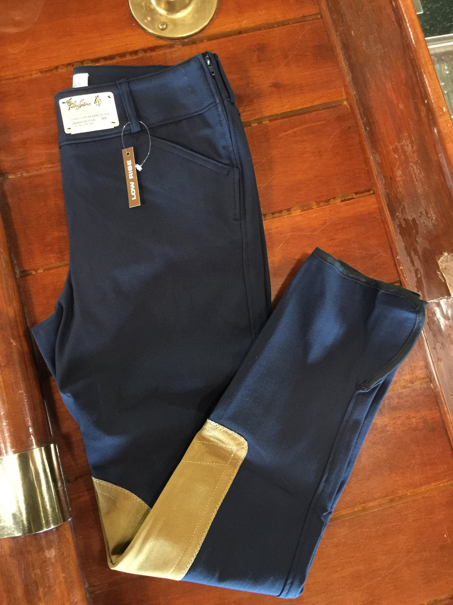 1968 Blue and Black with Tan Knee Patch Low Rise Side Zip