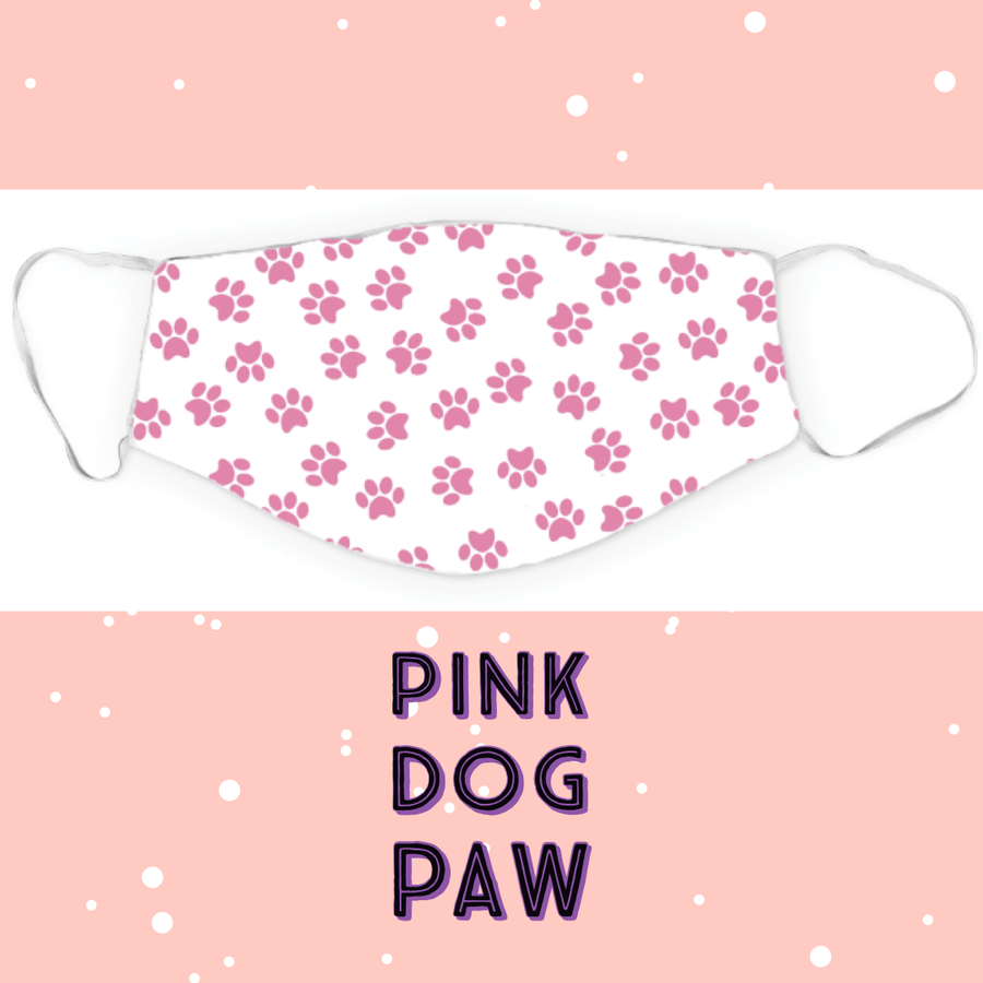 Face Mask - Pink Dog Paws