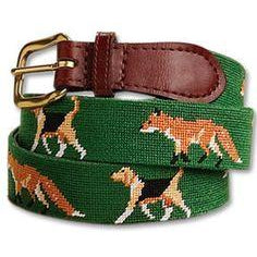 Smathers & Branson Needlepoint Belt Fox and Hound - Exceptional Equestrian