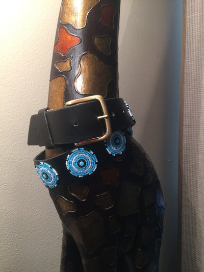 The Kenyan Collection Beaded Belts - EXEQ Turquoise/Blk/White Circles