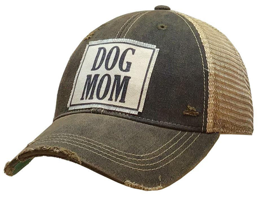 Dog Mom Distressed Trucker Cap Black