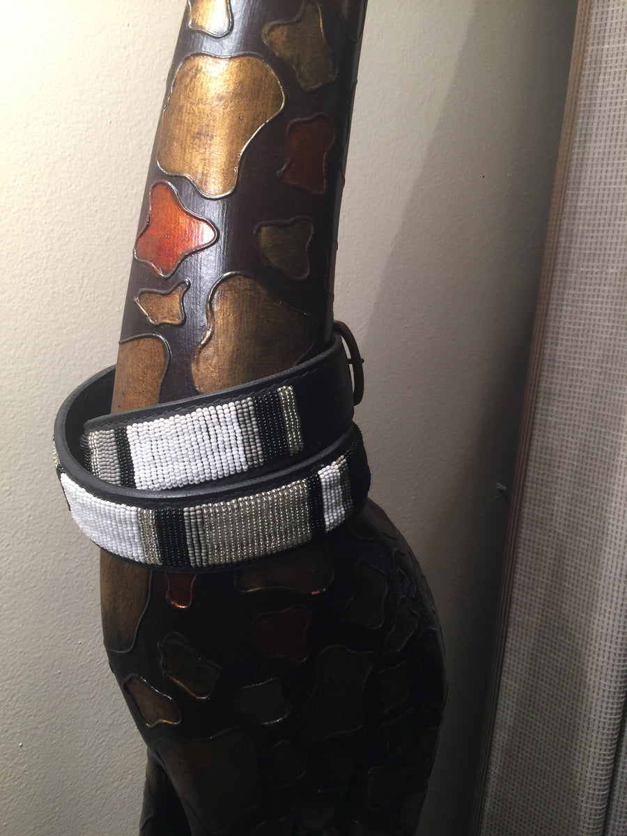 The Kenyan Collection Beaded Belts - EXEQ Blk/Whte/Silver/Grey w/o circles