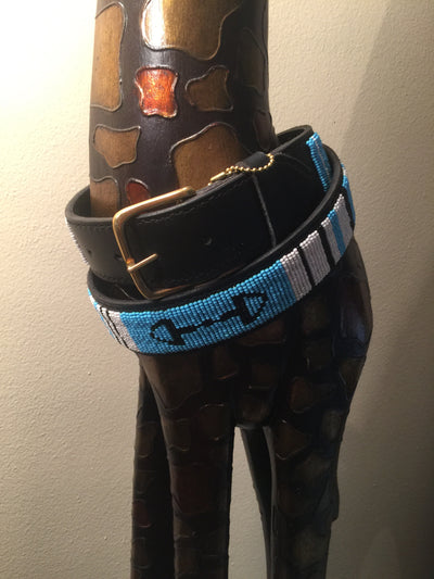 The Kenyan Collection Beaded Belts - EXEQ Turquoise Bits w/ brass buckle