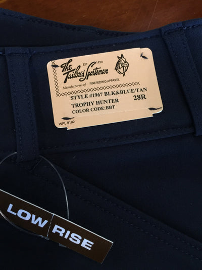 TS 1967 Black & Blue w/ Tan Knee Patch Low Rise Front Zip Breech