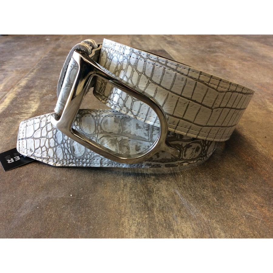 Sandy Duftler White Taupe Croc with Silver Buckle - Exceptional Equestrian