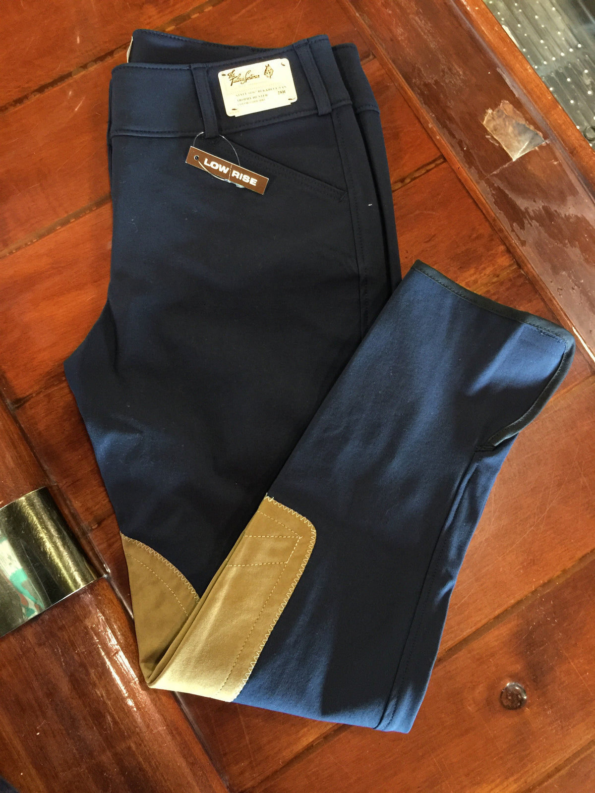 1967 Black & Blue w/ Tan Knee Patch Low Rise Front Zip Breech