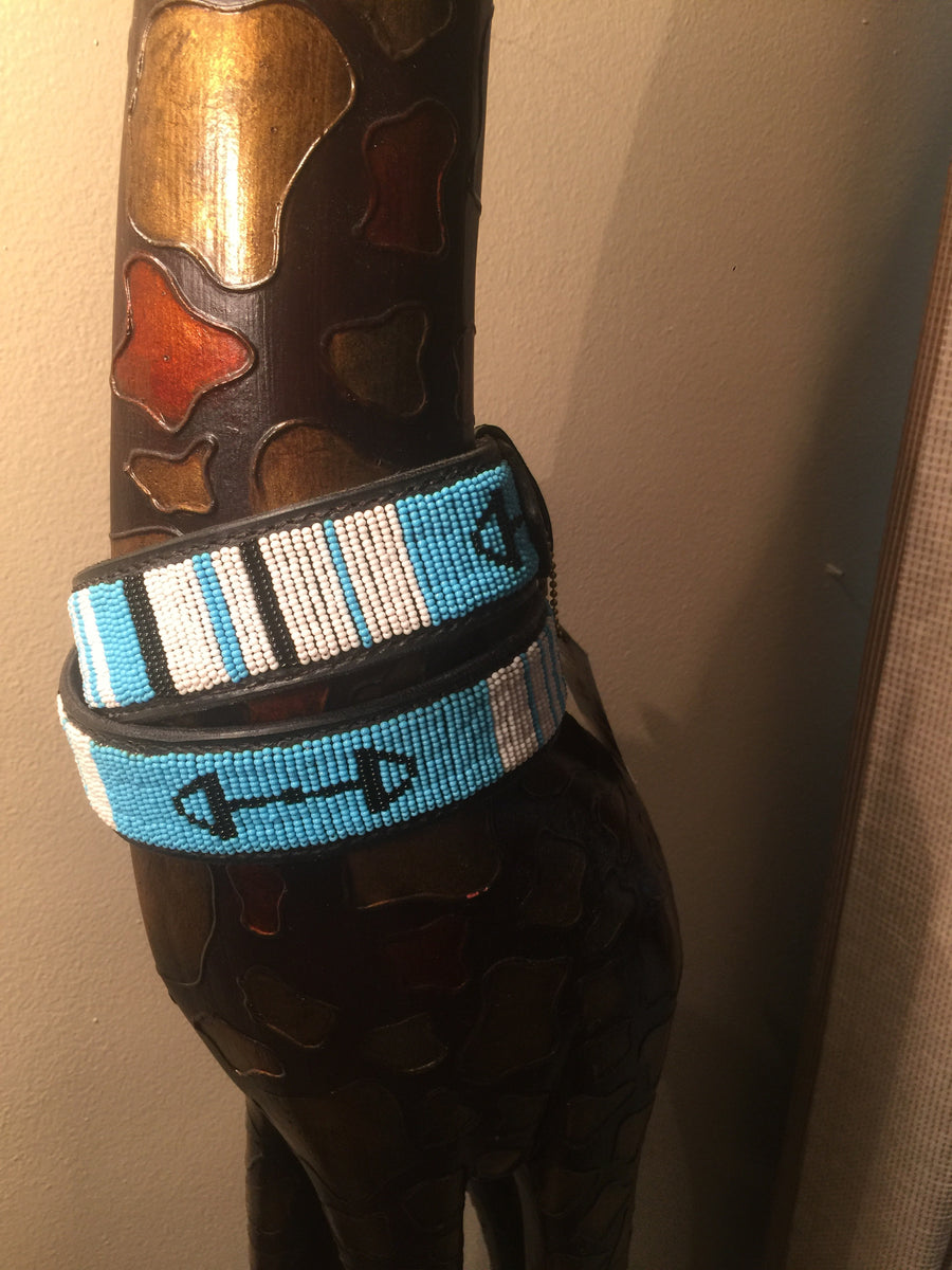 The Kenyan Collection Beaded Belts - EXEQ Turquoise Bits w/ silver buckle