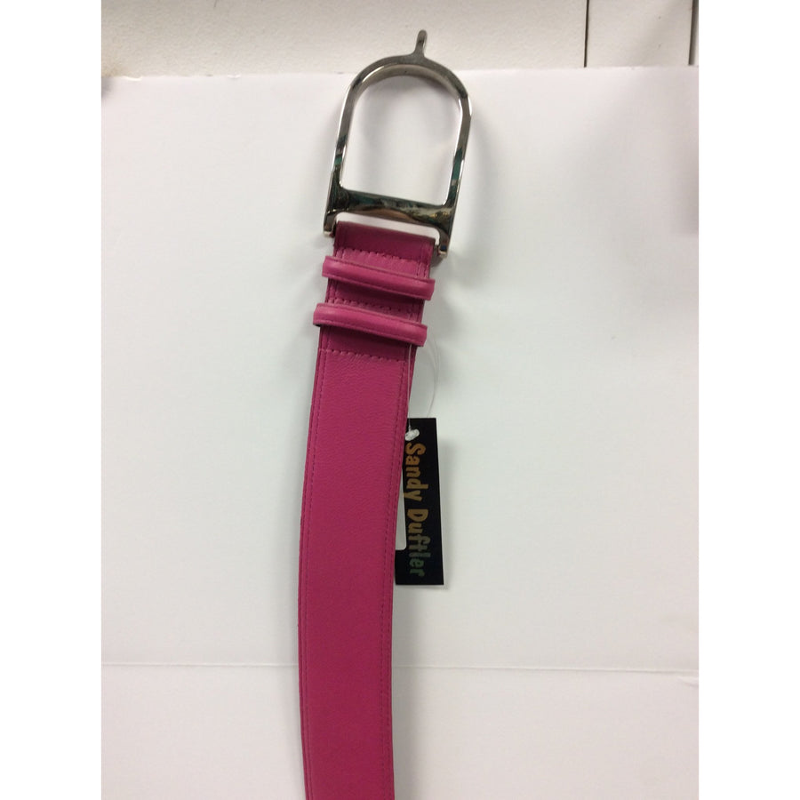 Sandy Duftler Spur Belt Hot Pink Lamb with Silver Buckle - Exceptional Equestrian