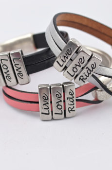 Lilo Collections- Triana Leather & Metal Mantra Bracelet