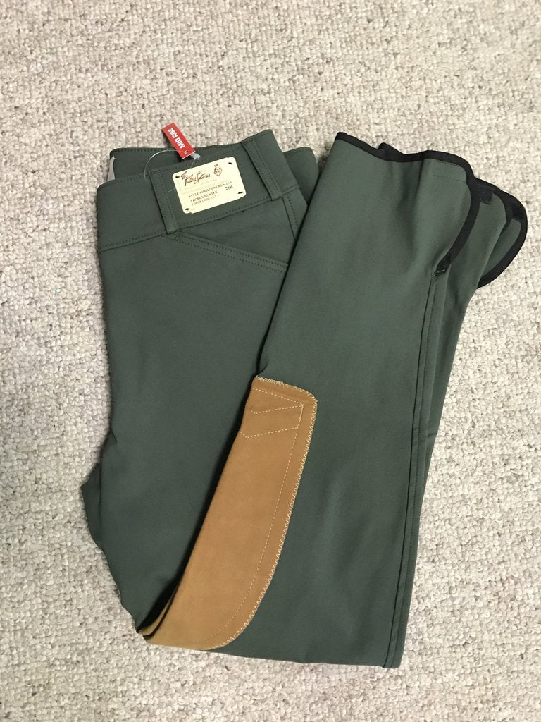 1964 Loden Green w/ tan Knee Patch Mid-Rise Side Zip Breech