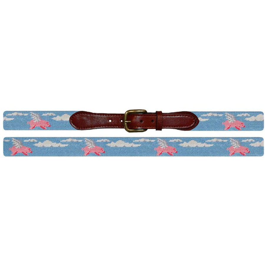 Smathers & Branson Needlepoint Belt When Pigs Fly - Exceptional Equestrian