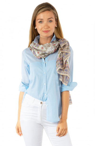 Gretchen Scott Sleek Voile Top Pale Blue
