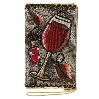Mary Frances Vino Beaded-Embroidered Wine Glass Crossbody Phone Bag