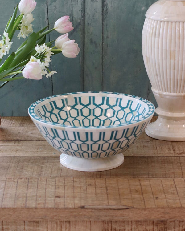 Decorative Inlay Bowl - Teal