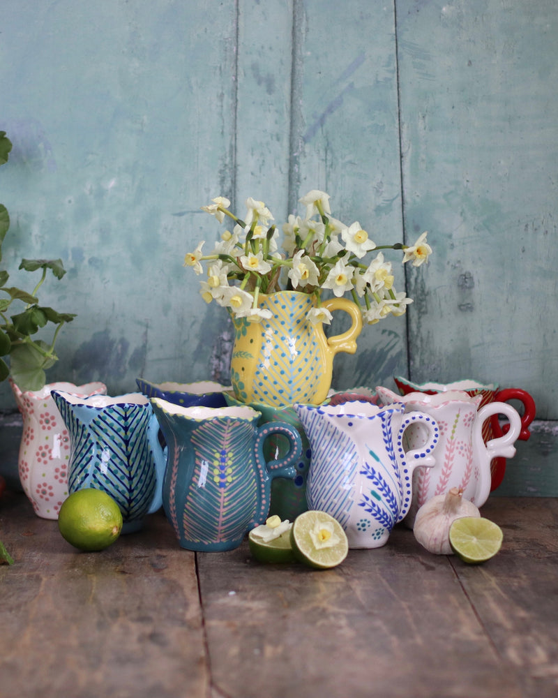 Frilly Milk Jug - White and Lime