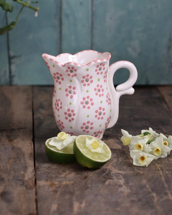 Frilly Milk Jug - White and Pink Flower