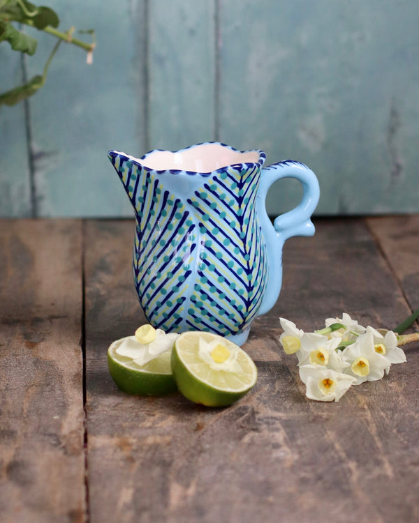 Frilly Milk Jug - Pale Blue