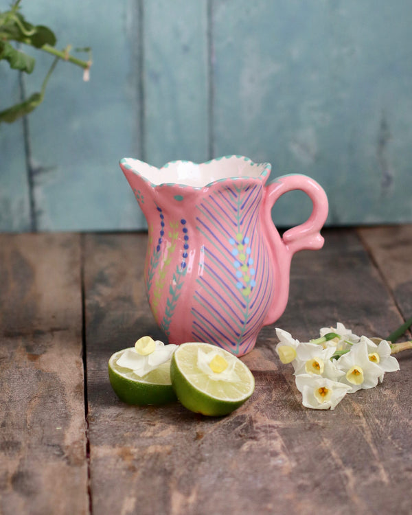 Frilly Milk Jug - Pale Pink