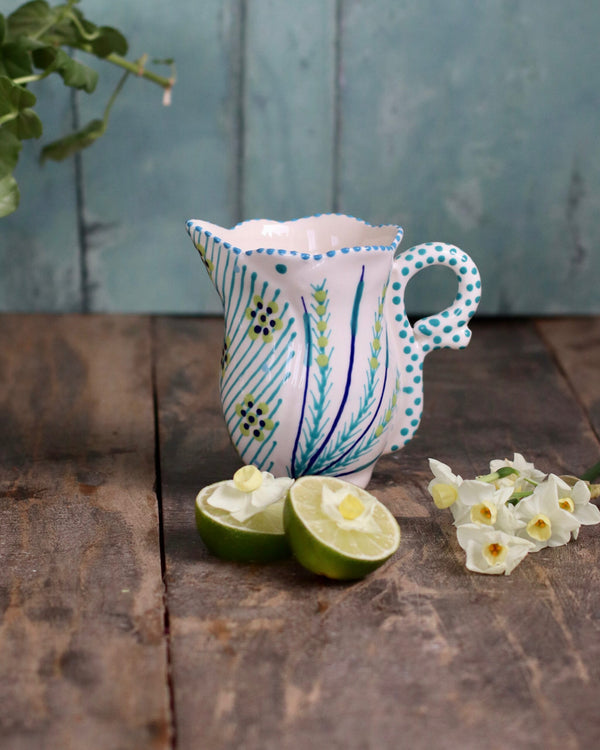 Frilly Milk Jug - White and Teal