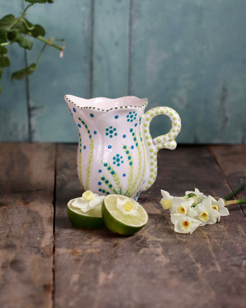 Frilly Milk Jug - White and Teal Flower