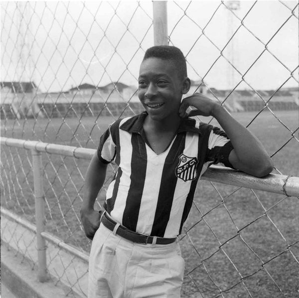 Pele Smiling in a Santos Jersey at Vila Belmiro