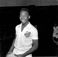 Pele Smiling in his White Santos Jersey