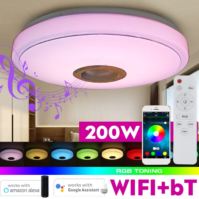 200W WiFi Modern RGB LED Ceiling Light Home Lighting APP bluetooth Music Light Bedroom Lamp Smart Ceiling Lamp Remote Control