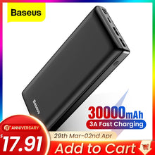 Load image into Gallery viewer, <transcy>Baseus Power Bank 30000mAh Powerbank USB C Fast Poverbank For Xiaomi iPhone 12 Pro Portable External Battery Charger Pover bank</transcy>