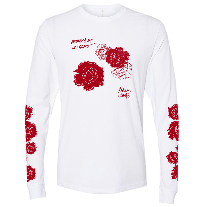 "Liddy Clark ""Wrapped up in Roses"" Long Sleeve White Tee"