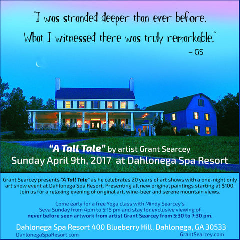 A Tall Tale presented by Grant Searcey at Dahlonega Spa Resort April 9th, 2017 5:30 to 7:30pm