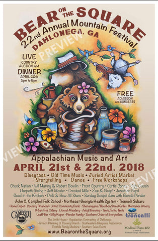 Grant Searcey Bear on the Square poster 2018 Dahlonega, GA Mountain Festival