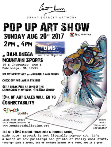 Pop Up Art Show Dahlonega Mountain Sports August 20th, 2017