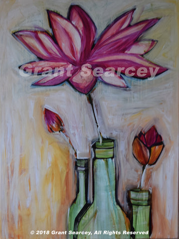 Three Lotus Bottles Giclee Print