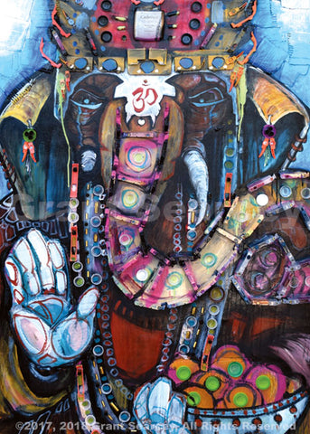 Ganesh Mixed Media Collage
