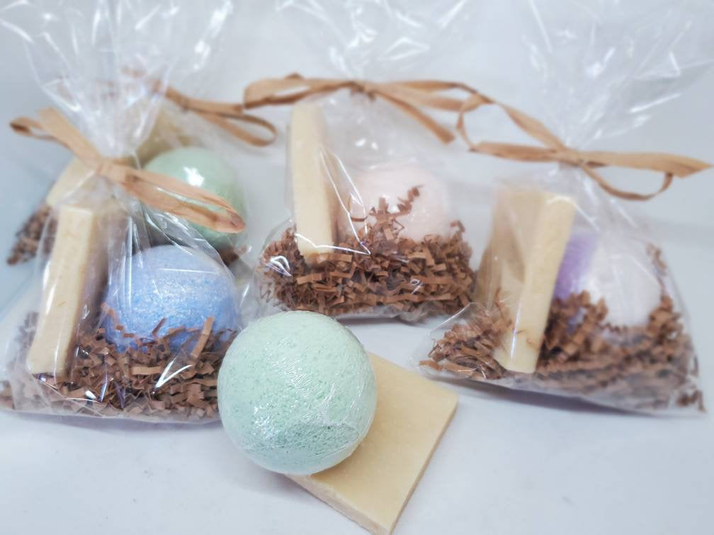 Organic Mini Spa Gift Bundle | All Natural Bath Bomb | Handmade Luxury Soap Bar