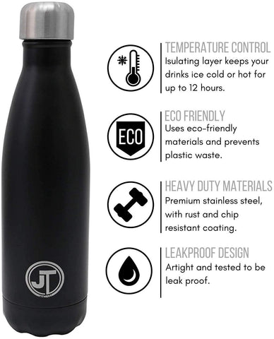 Stainless Steel Water Bottle 500ml Vacuum Insulated Flask with Watertight Seal Black