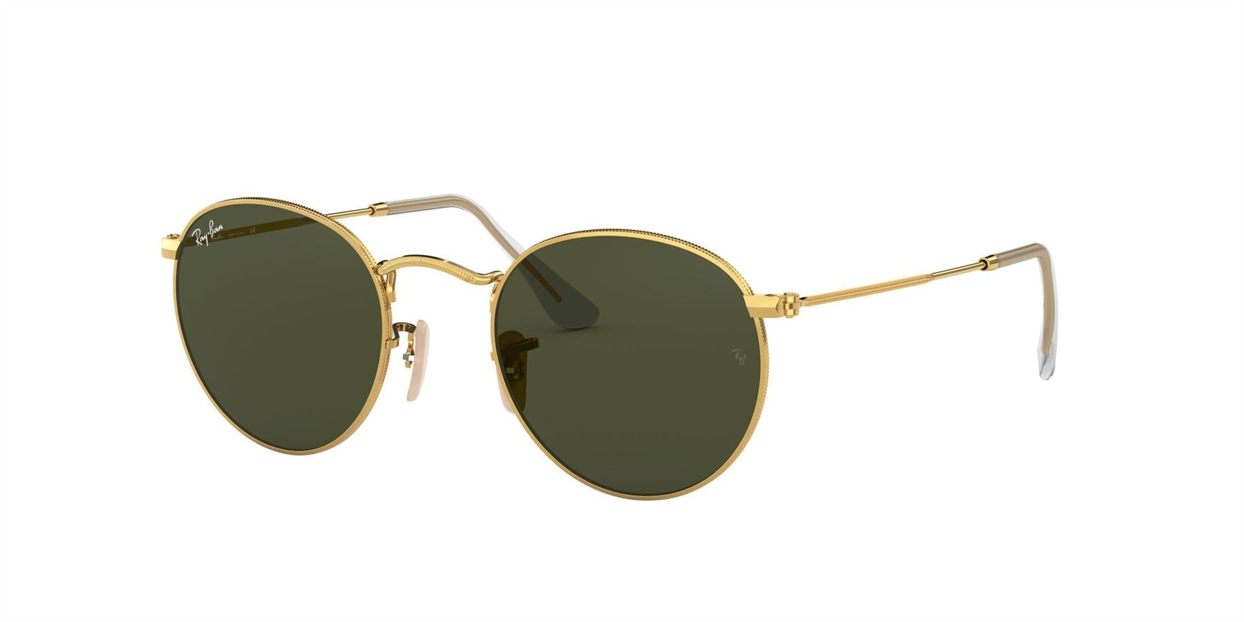 Ray-Ban Sunglasses Round Metal RB3447 001 Gold/Crystal Green - Size - 47