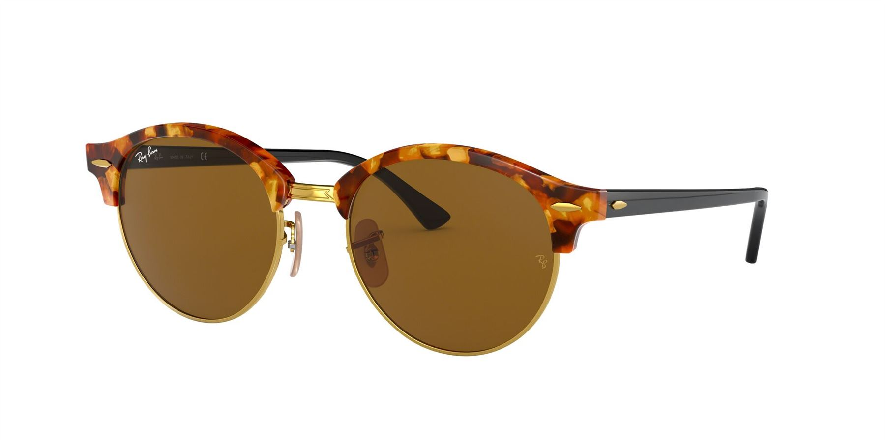 Ray-Ban Sunglasses Clubround RB4246 1160 Spotted Brown Havana/Brown - Size - 51