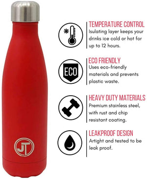 Stainless Steel Water Bottle 500ml Vacuum Insulated Flask with Watertight Seal Red