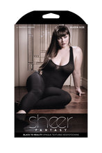 Load image into Gallery viewer, Black to Reality Opaque Textured Bodystocking -  Black - Queen