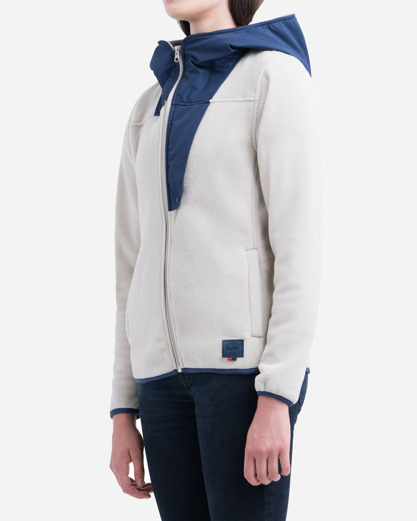 Chaqueta Fleece Zip Up - Oatmeal / Peacoat
