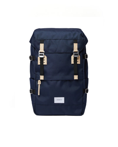 Harald Backpack - Navy with Natural Leather