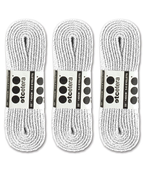 Etcetera Flat Shoe Laces (Pair) - White - 3 Pack