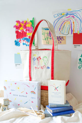 children's artwork tote