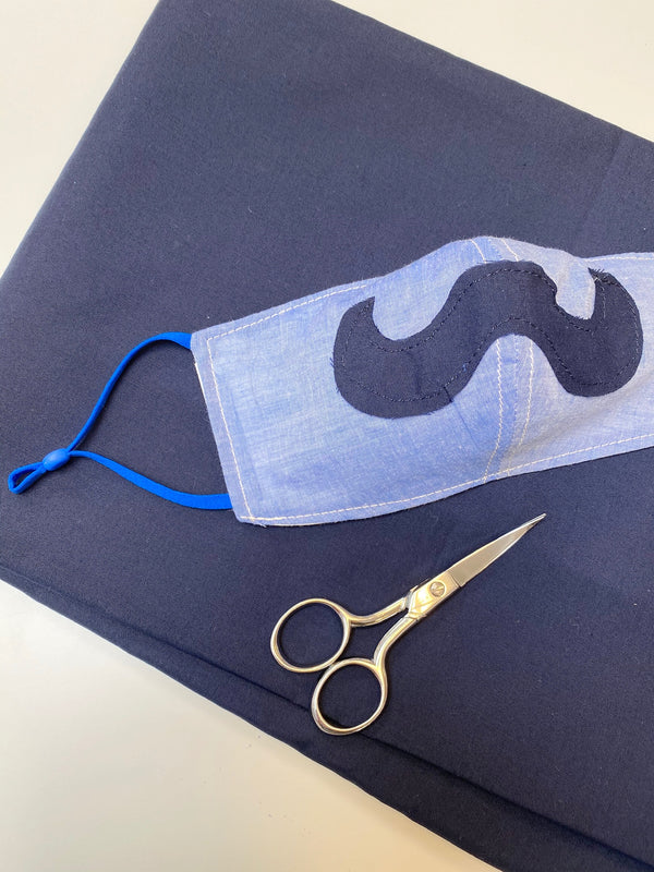 Face Cloth Casual Chambray Mustache