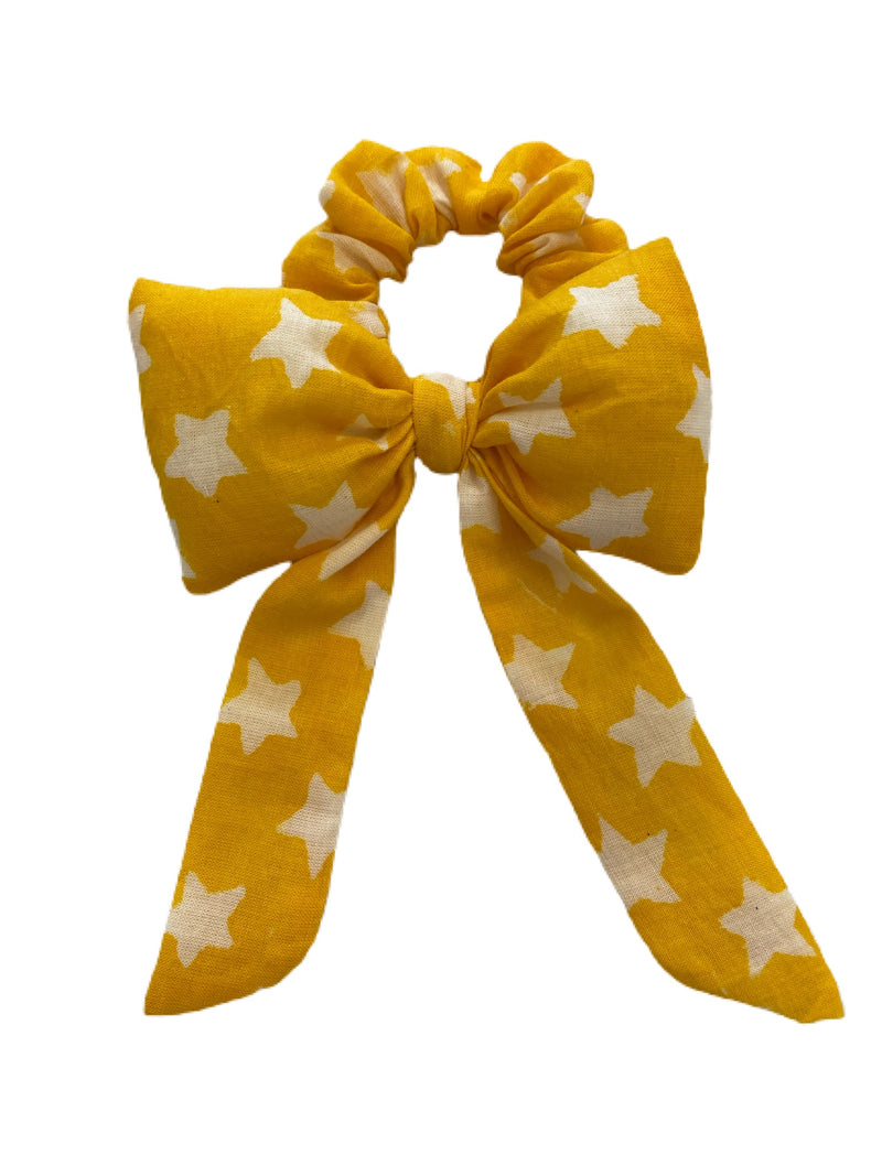 Face Cloth kids Mask and Hair Bow Set (Yellow)