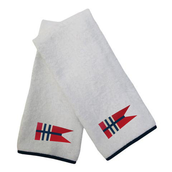 100% Cotton Terry Hand Towel with navy poplin trim